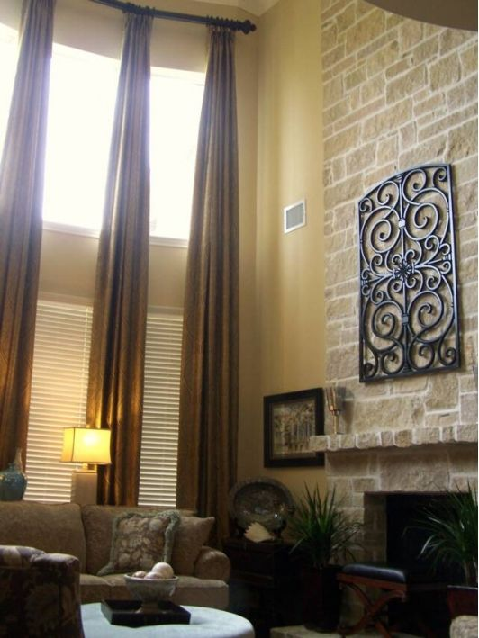 Drapes from floor to ceiling over two sets of windows for Best blinds for floor to ceiling windows