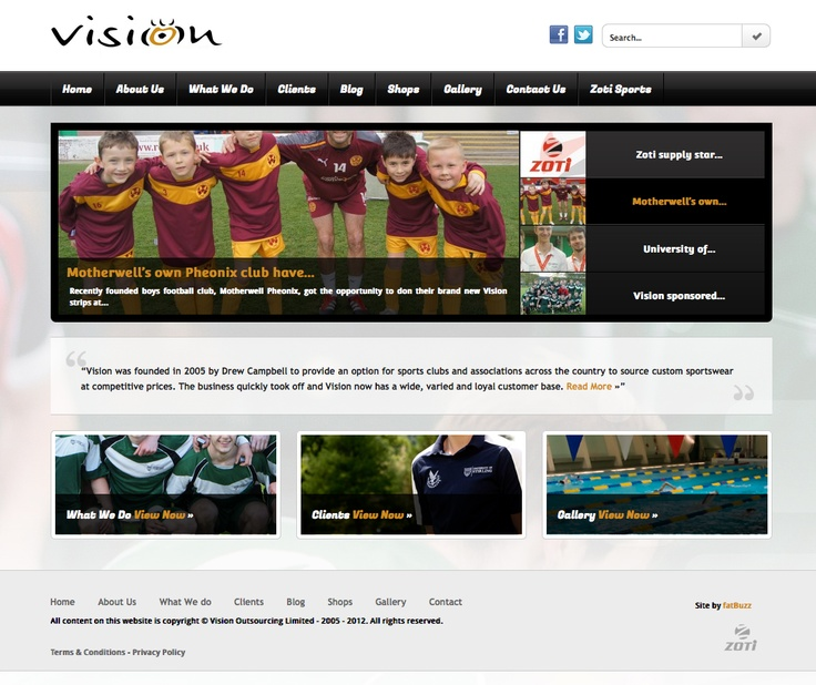 Vision was founded in 2005 by Drew Campbell to provide an option for sports clubs and associations across the country to source custom sportswear at competitive prices. The business quickly took off and Vision now has a wide, varied and loyal customer base.