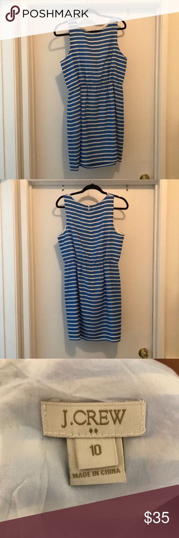 Blue and white striped J. Crew dress Size 10 Blue and white striped J. Crew dress Size 10. Knee length. Zipper in the back. Great spring work dress. Unfortunately, it is too small for me now. J. Crew Dresses Midi