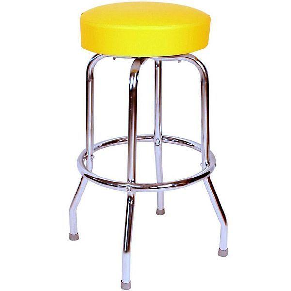 Richardson Round Top Bar Stool Single Ring Chrome Frame In 2020 Swivel Bar Stools Bar Stools Bar Stools For Sale