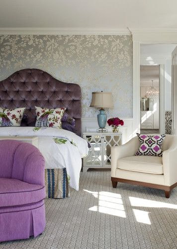 Glamorous feminine bedroom. Love that upholstered headboard.