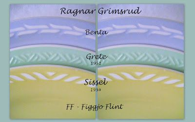 Figgjo Flint - Benta, Grete (1951), Sissel (1954). Design: Ragnar Grimsrud