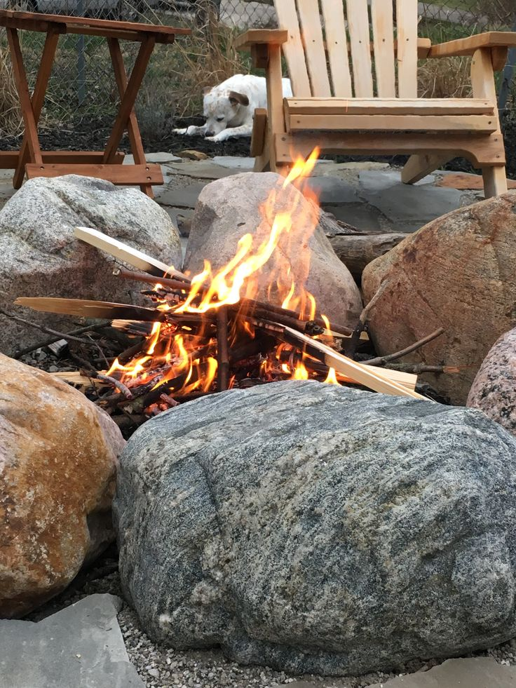 boulder fire pit and tennessee flagstone patio