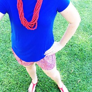 Red hot. What I wore: Blue Witchery shirt. Red and blue Witchery shorts. Red Love From Cyprus handmade sandals. Red wood bead necklace.
