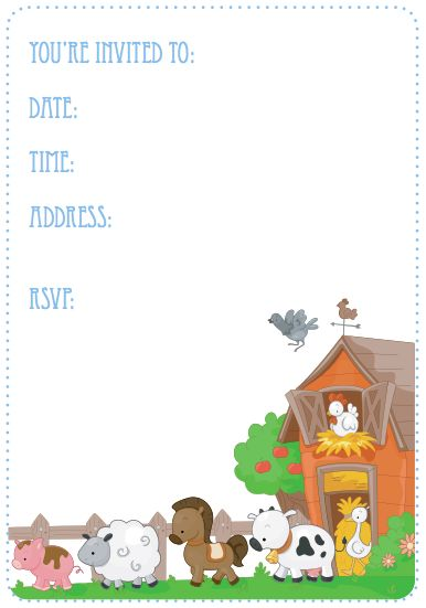 Farm themed birthday party invite