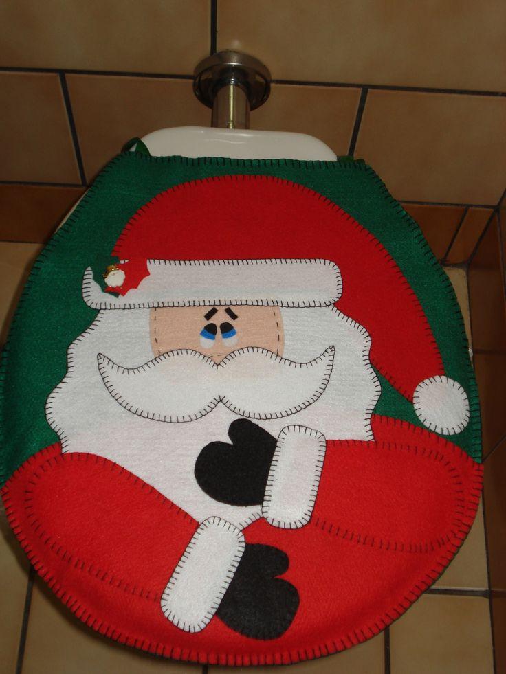 Decoração de natal em feltro para seu vaso sanitário. Tampa fechada.