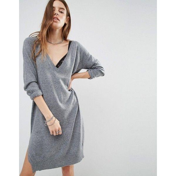 Noisy May Deep V Neck Knit Dress ($40) ❤ liked on Polyvore featuring dresses, grey, low v neck dress, noisy may, knit dress, deep v neckline dress and tall dresses