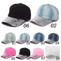 Wish | Unique Outdoor Snapback Adjustable Soft Casual Crystal Bling Breathable Cowboy Jeans Adjustable Baseball Hat