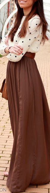 maxi skirt + sweater ck gorgeous fall outfit!