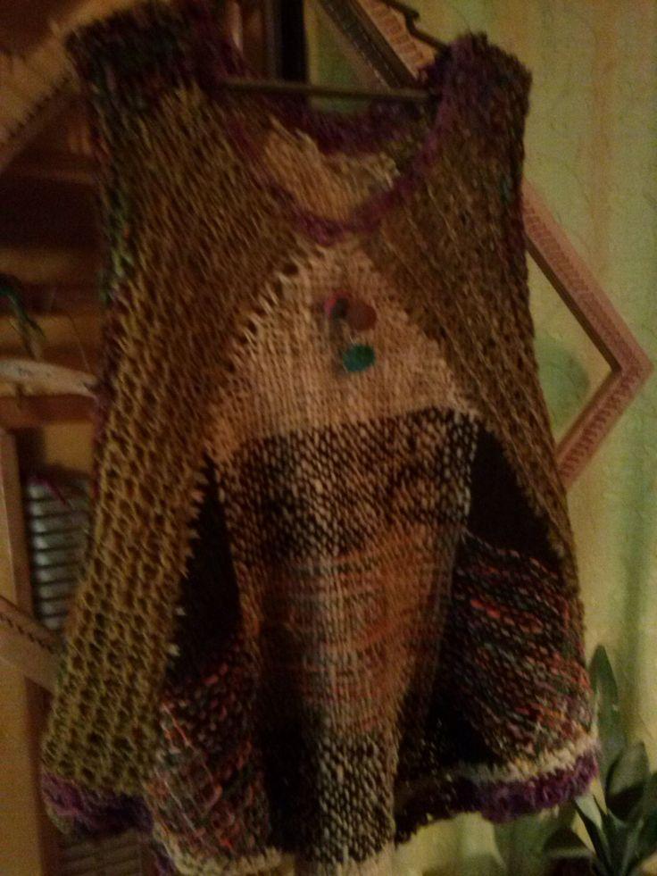 Poncho tejido lana natural telar y palillos