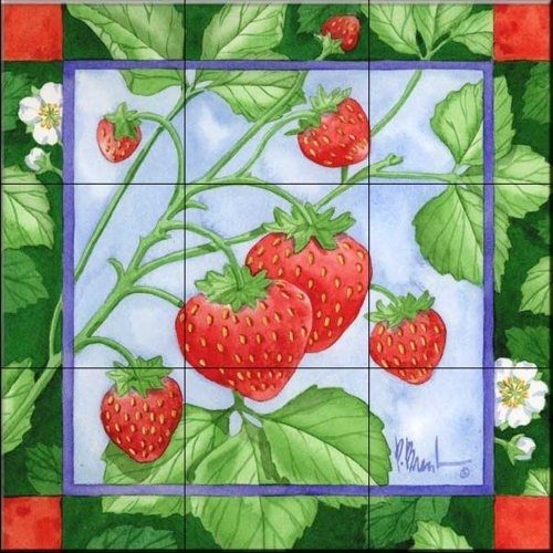 Strawberries 3 by Paul Brent - Kitchen Backsplash / Bathroom wall Tile Mural - Amazon.com