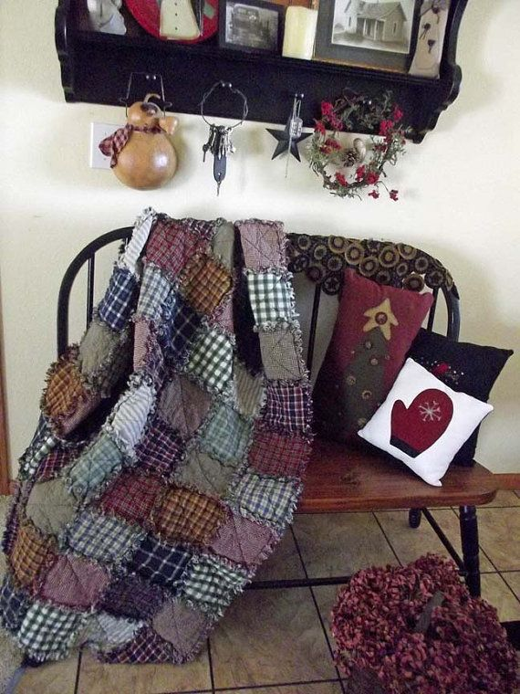 Rustic Rag Quilt Throw - Ready to Ship - Handmade Country Western Primitives
