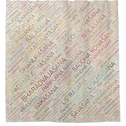 Yoga Asanas / Poses Sanskrit Word Art  on Purple Shower Curtain - shower curtains home decor custom idea personalize bathroom