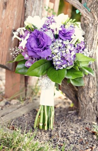 purple & green bouquet
