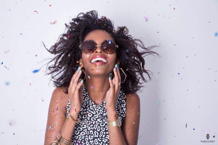 Sunglasses, joy and confetti.