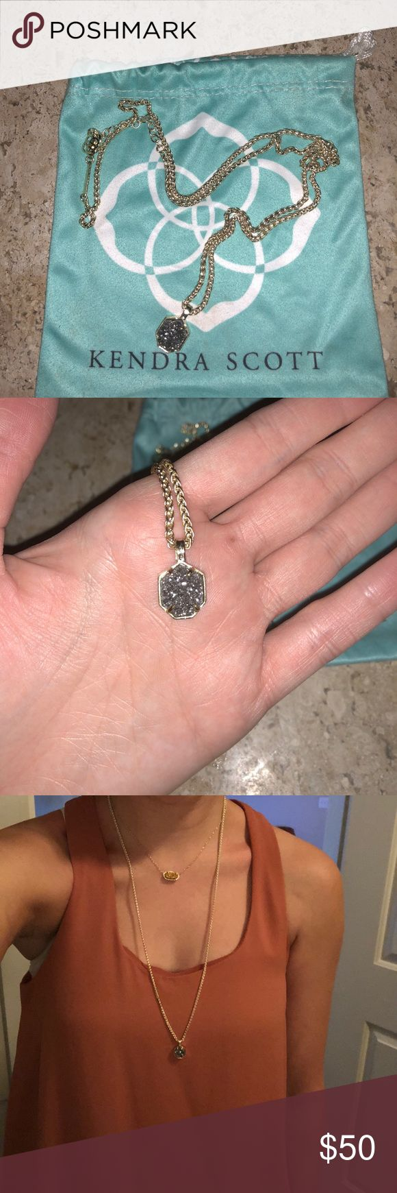 """Kendra Scott Oliver Gold Plated Pendant Necklace Kendra Scott Oliver Gold Plated Druzy Long Pendant Necklace   Great piece for layering! Only worn a handful of times. Like new! Dusted bag included  26"""" lengthwith 2"""" extender, Pendant is 3/8""""Wx 7/8"""" L Kendra Scott Jewelry Necklaces"""