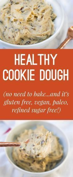 A recipe for healthy no-bake cookie dough! Vegan Gluten Free Refined Sugar Free and Paleo!