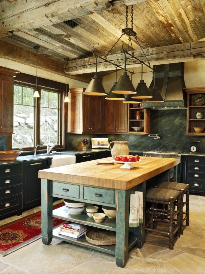 cocina americana pequea cocina acogedora en estilo rstico con techo de madera y lmparas de with - Barras Americanas
