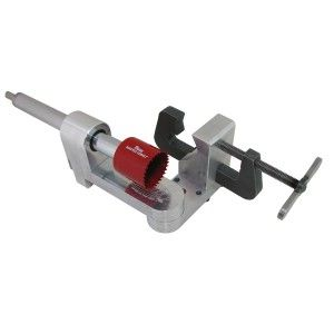 "The new RaceLine Hole Saw Tubing Notcher has clamping capabilities up to 3"" OD and can cope the end of a tube at any angle in a 210 degree arc.  Offsets notches are quick and easy from zero up to 1"" and like other JMR notchers the zero point can be returned to positively for a perfectly centered cut."