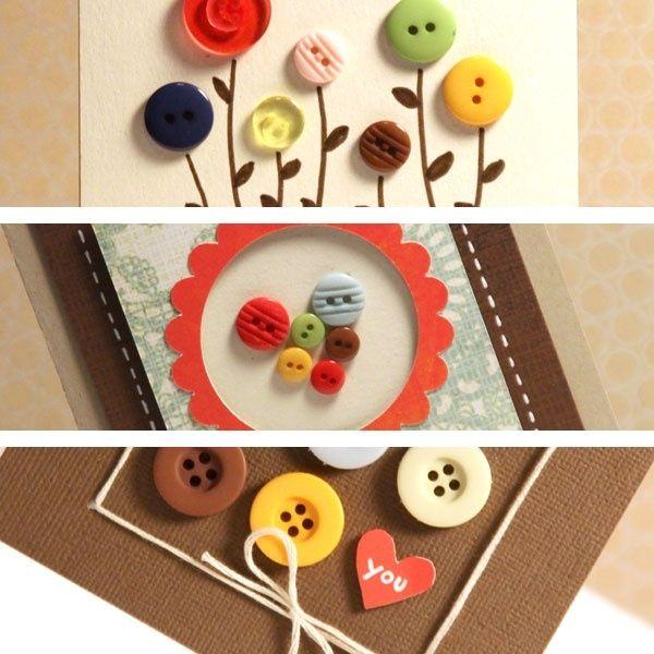 SimpleCrafts Ideas, Buttons Crafts, Buttons Ideas, Baby Jars, Art Tips, Buttons Flower, Homemade Cards, Buttons Cards, Crafty Ideas