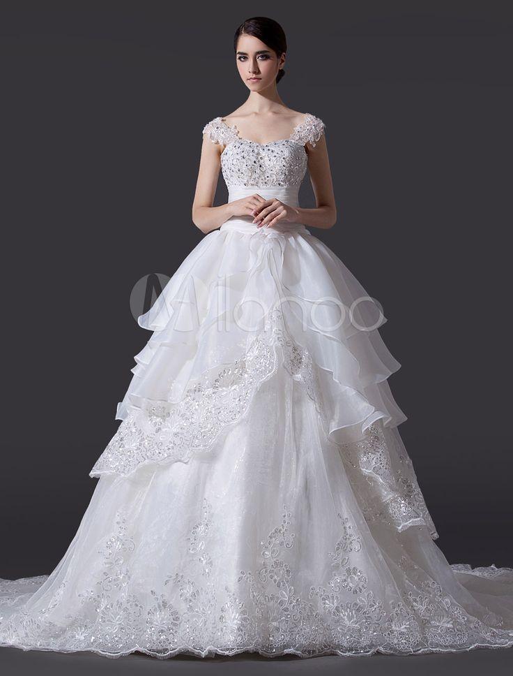 Robe de mariée fabuleuse A-ligne en organza avec dentelle hors de ...