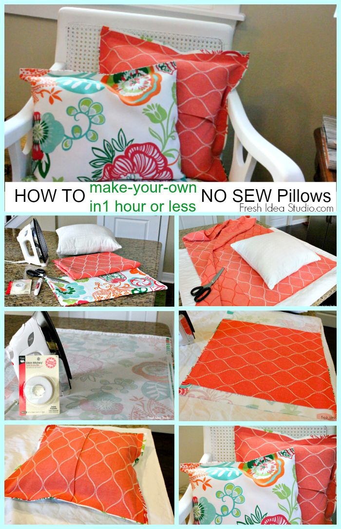 Easy Pillow Cover Tutorial: How to make a super easy No Sew Pillow Cover   Sew pillows  Super    ,
