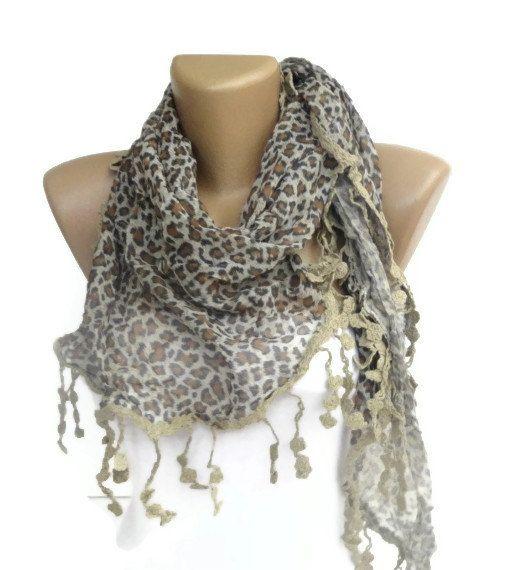 beige Leopard Scarf Leopard Print  Scarf  Luxury by scarvesCHIC, $19.50
