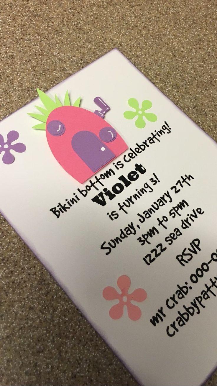 Spongebob Birthday party Invitation for girls by Conlamoregifts on Etsy https://www.etsy.com/listing/186708479/spongebob-birthday-party-invitation-for