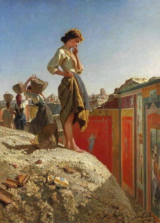 Filippo Palizzi  (Vasto, 1818 – Napoli, 1899) Fanciulla negli scavi di Pompei (parete rossa), 1870