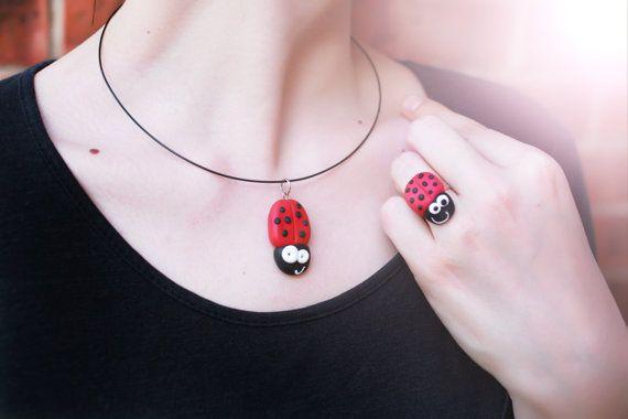 Girls necklace and ring Jewellery set Handmade by handmadeBYmamas