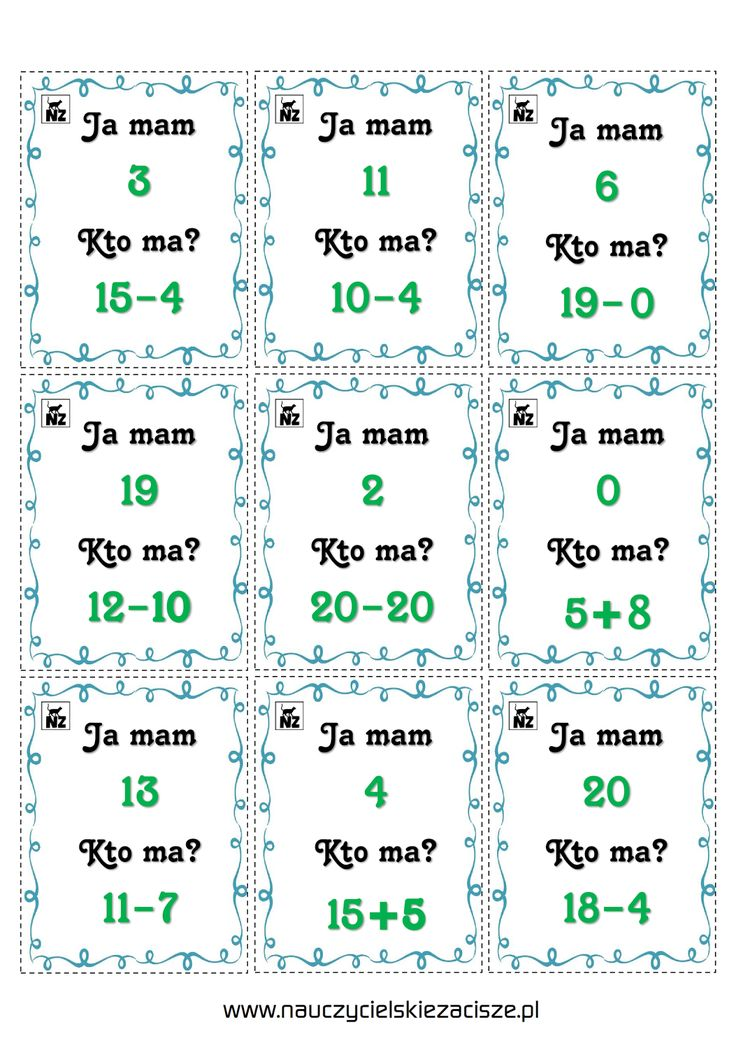 Nauczycielskie zacisze: Gry matematyczne - dodawanie i odejmowanie w zakresie 20 DO POBRANIA