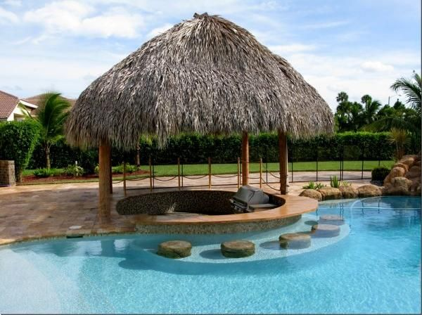 Architecture tiki hut pool bar with rustic design tiki for Pool design with swim up bar