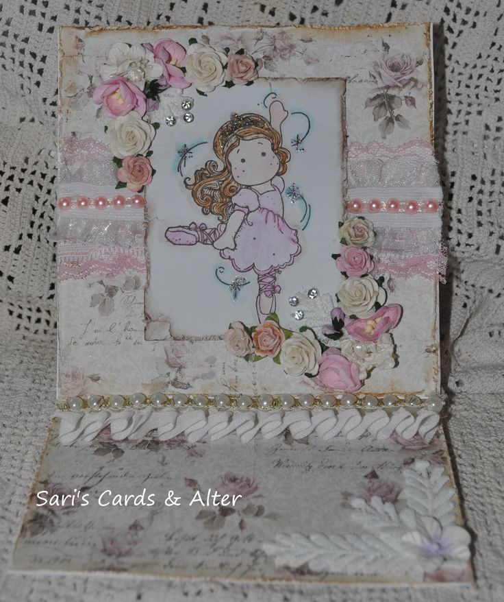 magnolia,shabby chic easel card, roses,lace,pearls,bling