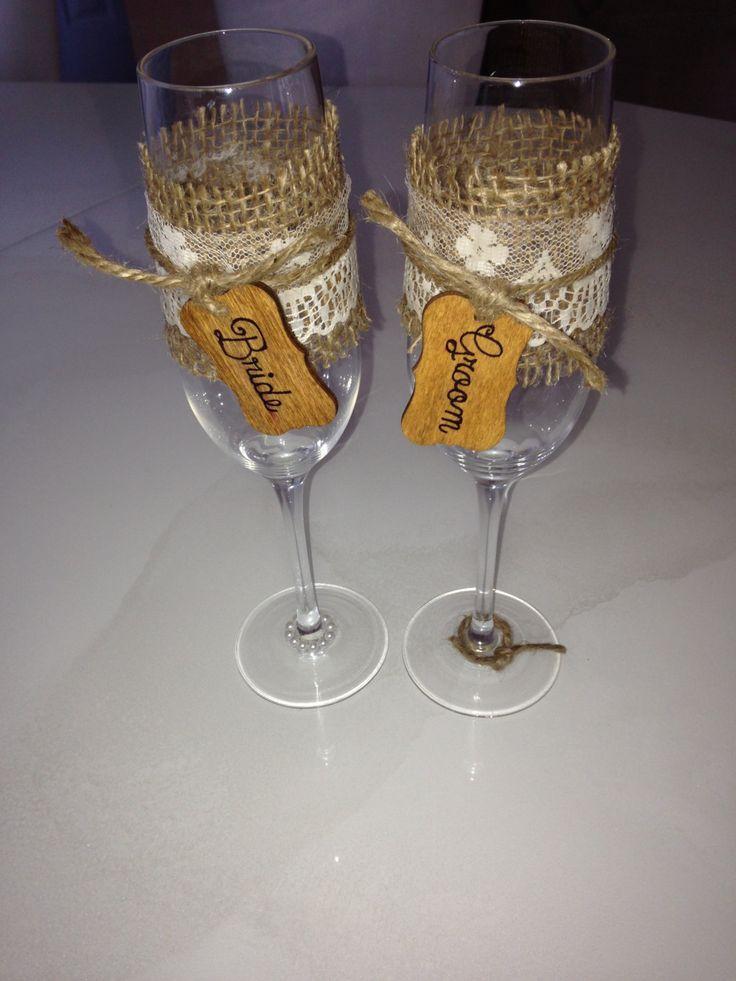 Burlap  Lace Custom Wedding Champagne Toasting Flutes w/ Jute Tied Wood Tag.