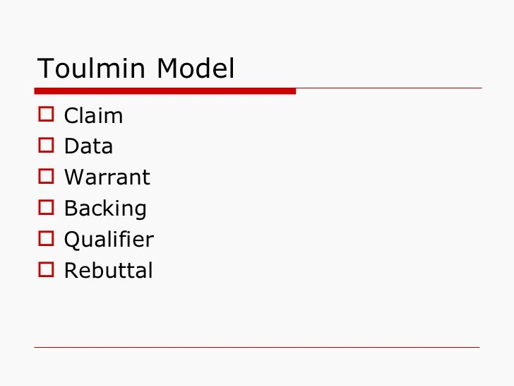 toulmin model Using toulmin's model of argumentation joan karbach pdf published 1987- 01-01 issue vol 6 no 1 (1987): spring 1987 section submissions copyright to .