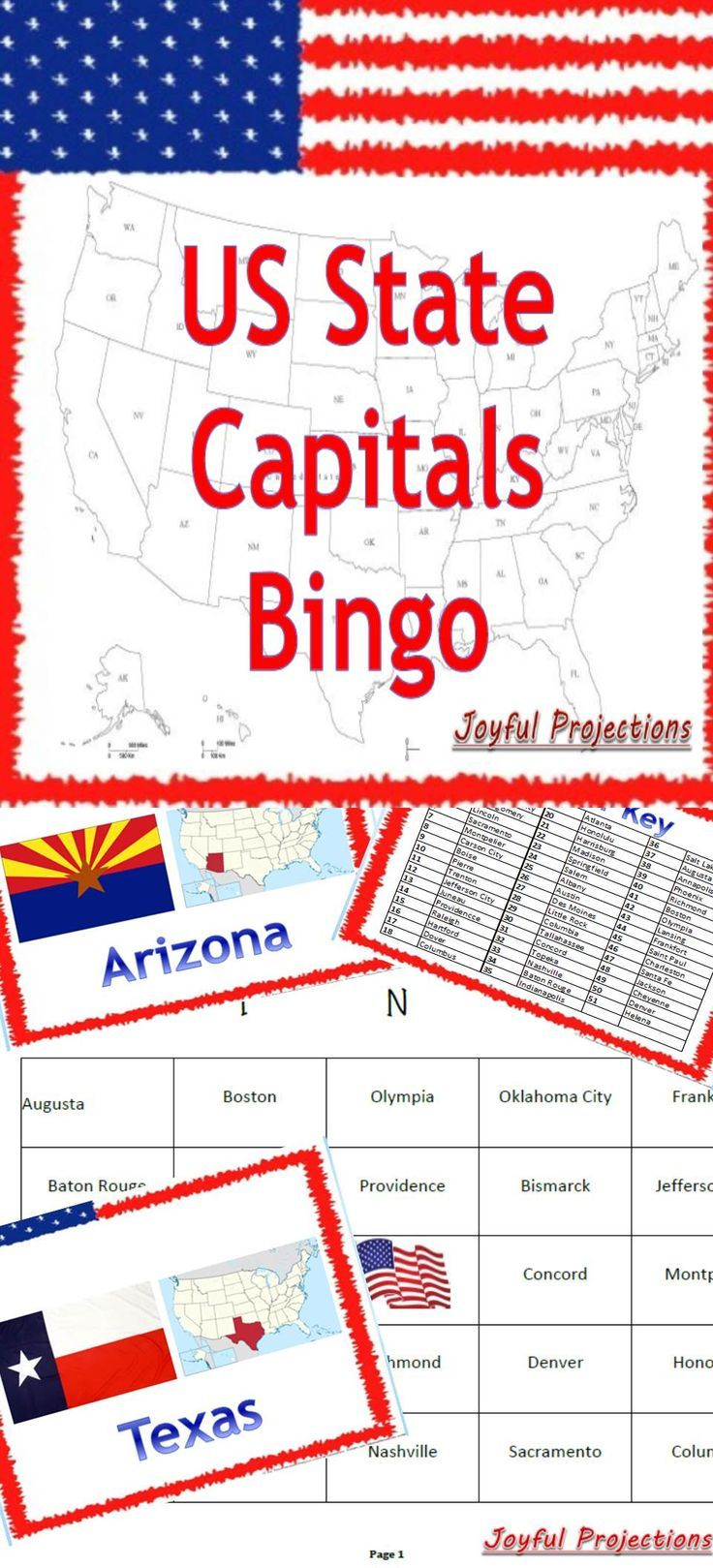 United States Capitals Bingo Classroom Activity W 35 Bingo Cards