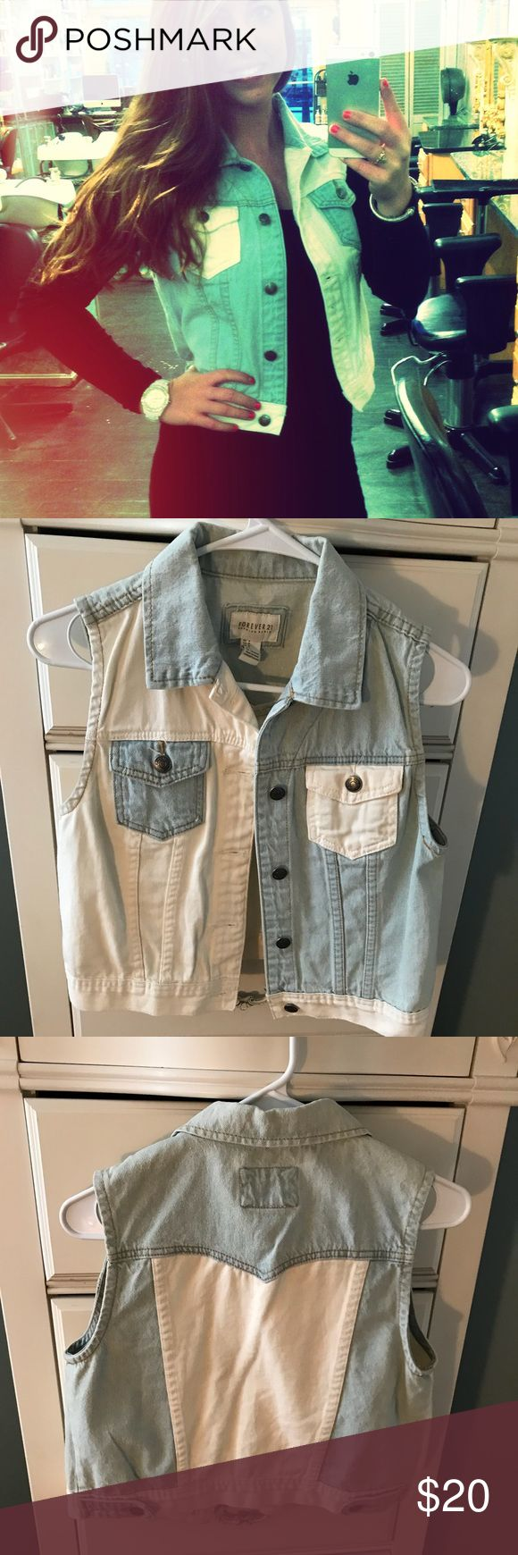 Forever 21 Denim and white jean vest - size S. Forever 21 - denim and white jean vest - size small. No rips, stains or odor! Price negotiable! Forever 21 Tops Tees - Short Sleeve