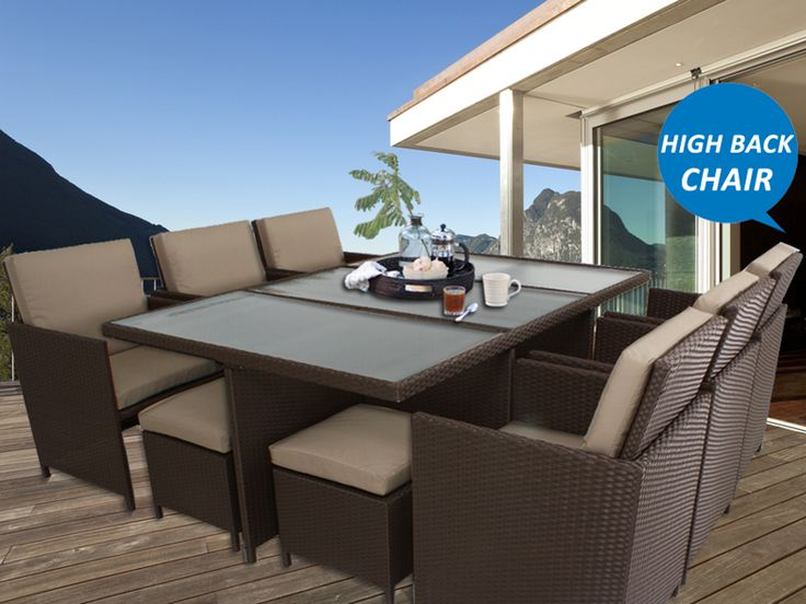 Brown Centra 12 Seater Wicker Outdoor Dining Furniture