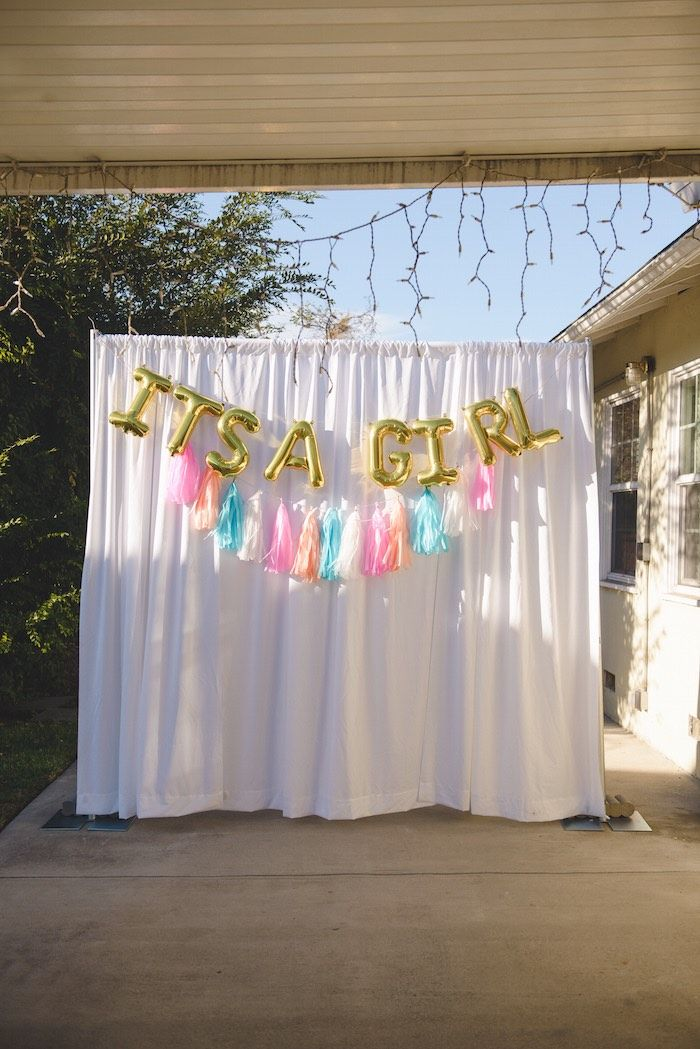 Baby Showers Backdrop ~ Raindrops unicorns themed baby shower backdrops