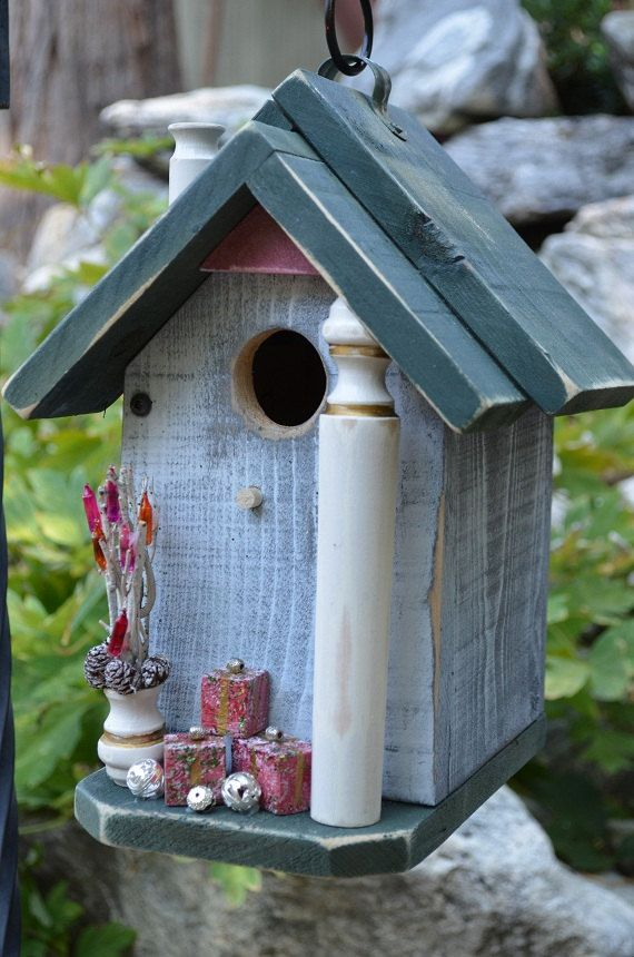 Rustic Birdhouse Shabby Chic Christmas Decorative Patio Yard Art Gardening Woodworking Recycled
