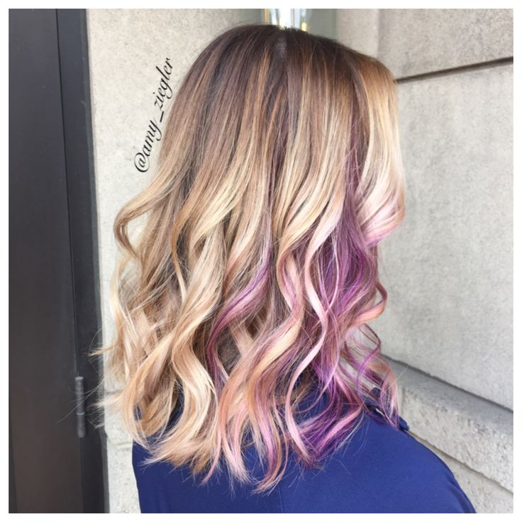 Blonde balayage and purple peekaboo by @askforamy #versatilestrands