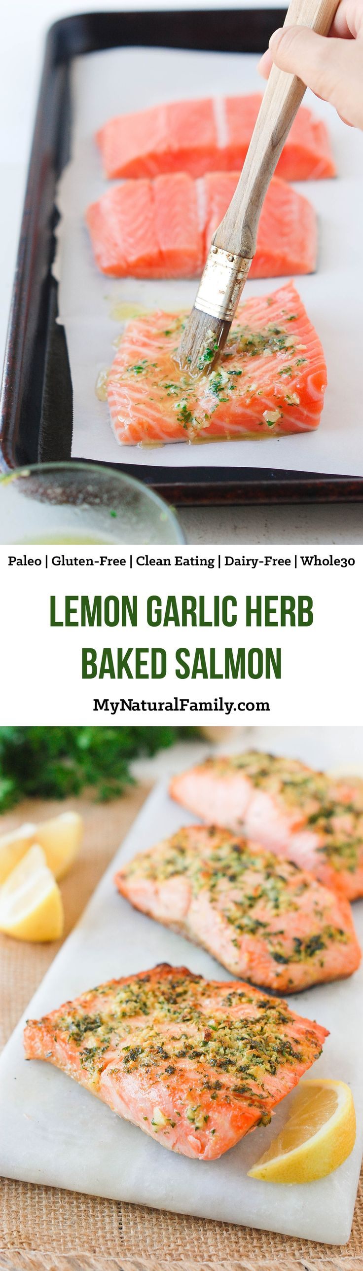 We have an Paleo salmon recipe for you - baked lemon garlic herb crusted salmon. This fish is light and flaky and it only takes 10 minutes to bake.