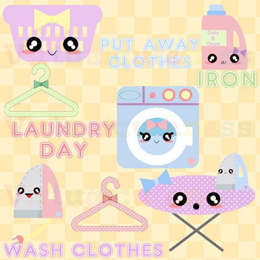 Kawaii Laundry - Cute Cleaning Clip Art, Pastel Washing Machine, Digital Stickers, Clothes Basket, Planner, Free Commercial and Personal Use