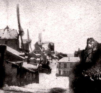 Les moulins de Montmartre sous la neige en 1853