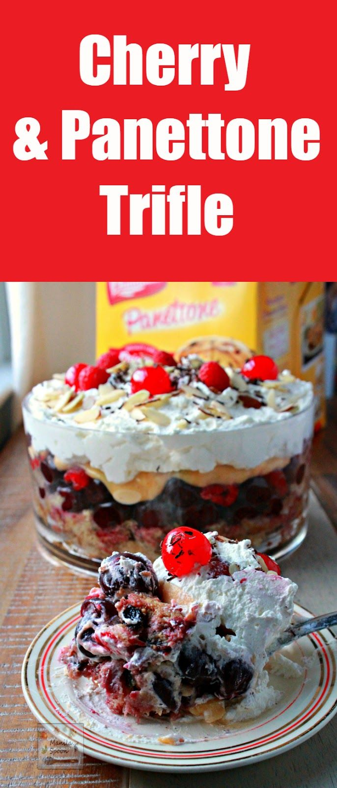 Freshly whipped cream, yummy custard, fruits plus Italian Panettone or any sponge cake make this a delicious and party-perfect Trifle! Cherry, Raspberry and Panettone Trifle