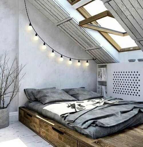 Mimalmist Bedroom Design Inspiration - Raised Futon Bed with Drawer Storage Underneath - Add Plants & Change Color Pallete