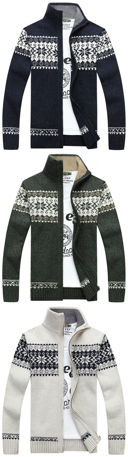 US$37.89#Mens Fall Winter Sweater_ Stand Collar Casual Cardigan_ Snowflake Pattern sweater
