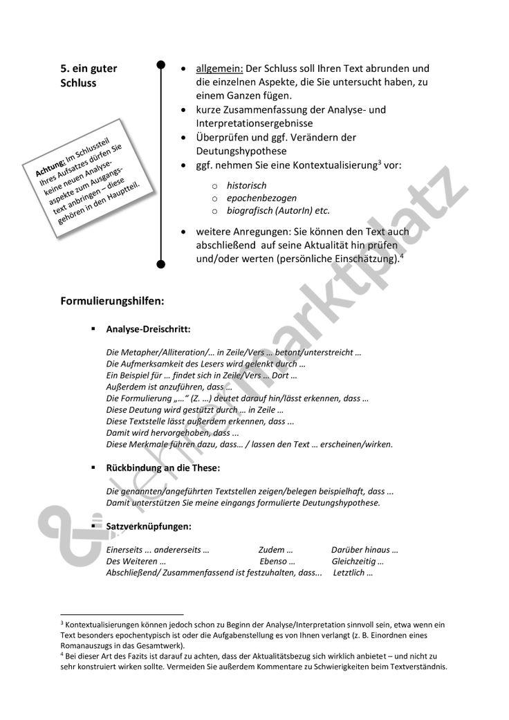 Analyse und Interpretation: Leitfaden - für alle literarischen Texte; Kurzgeschichte, Gedicht etc. [word + pdf], mit Formulierungshilfen - Seite 6