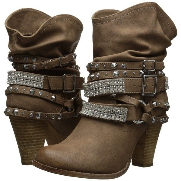Not Rated Swanky Women's Pull-on Boots ($80) ❤ liked on Polyvore featuring shoes, boots, not rated boots, stacked heel boots, synthetic boots, lined boots and slip on boots