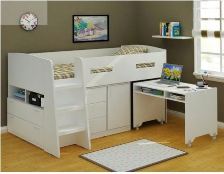 Saturn Midi Loft Bed With Desk and